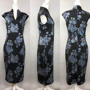 NY&Co Split-Neck Metallic-Foil Floral Sheath Dress